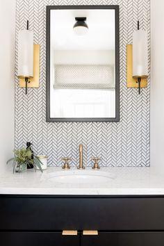Powder Room Decor, Powder Room Design, Powder Rooms, Mosaic Bathroom, Bath Tiles, Room Wall Tiles, Bathroom With Tile Walls, Downstairs Bathroom, Classic Bathroom