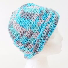 Blue Gray Hat Baggy Beanie Slouchy Winter Ski  Beret Chic Skull Cap Hipster #Handmade #Beanie