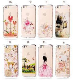 For iphone 6 6s,6 Plus 6s Plus,7 7 Plus Flowers Daisy Cute Kitty Mickey Princess Lemon Banana Diamond Soft TPU Case Back Cover