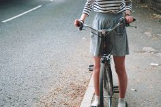 Striped shirt with grey skirt - casual