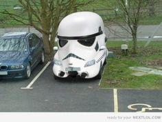 storm trooper helmet car...