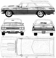 CAR blueprints - Chevrolet Chevelle Station blueprints, vector ...