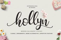Hollyn Script is a new modern calligraphy Script fonts, combines from copperplate to contemporary typeface, classic and elegant touch. With extra bouncy curves & loops, ornament and floral font. Hollyn Script is guaranteed to make your text stand out - perfect for logos, printed quotes, invitations, cards, product packaging, headers and whatever your imagination holds. Font Design, Web Design, Design Typography, Typography Fonts, Graphic Design, 2017 Design, Blog Design, Graphic Art, Handwriting Fonts