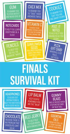 Finals Survival Kit or Care Package Printables – Final Exams Care Package – Final Exams Survival Kit – College Care Package – Gift Ideas College Gift Baskets, College Gifts, Grad Gifts, College Care Packages, Care Package College, Camp Care Packages, Bff Gifts, Student Survival Kits, Schul Survival Kits