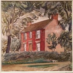 The official label says: Red Cottage (or Brick House), Essex, home to the artist; in foreground dog on road, beyond house seen behind fence. It is not dated. Red Cottage, American Poets, Watercolor Techniques, Light Painting, British Museum, Landscape Paintings, Landscapes, Beautiful Images, Graphic Illustration