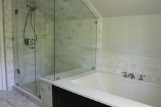 master bath shower idea.... Without slanted ceiling/roof issue.