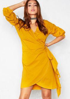ce404bbb7652 Lana Mustard Bell Sleeve Wrap Tie Dress