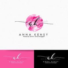 Makeup Artist Logo Makeup Artistry Logo Beauty Logo Pink Watercolor Logo…