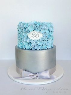 Anniversary Cake with blue sugar hydrangeas and brushed silver tier by Sweet Disposition Cakes Crazy Cakes, Fancy Cakes, Gorgeous Cakes, Pretty Cakes, Fondant Cakes, Cupcake Cakes, Wedding Anniversary Cakes, 25th Anniversary, Wedding Cake