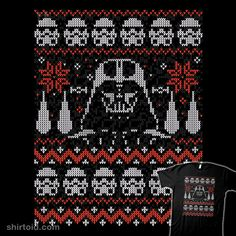 """""""The Dark Side of the Christmas"""" by Walmazan Star Wars sweater design featuring Darth Vader and his Stormtroopers Loom Knitting, Knitting Stitches, Counted Cross Stitch Kits, Cross Stitch Embroidery, Knit Patterns, Cross Stitch Patterns, Fair Isle Chart, Star Wars Christmas, Christmas Pillow Covers"""