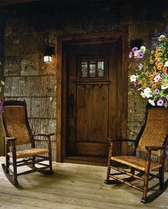 Like the porch, bark shingle siding; - Welcoming Porches from The Cottage Journal Bungalows, Porches, Living Haus, Living Room, Cabin In The Woods, Log Homes, Home Interior, Interior Modern, Interior Decorating