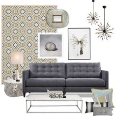 """Love the grey, natural and blue combination.  Don't forget to protect your fabric furniture with a water and stain protector. We are going to launch that product in the next 2 weeks, thus stay tuned.  """"Carpet identity crisis"""" by kitten on Polyvore"""