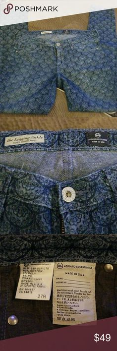 AG Jeans Size 27R Unique AG Jeans with cool pattern. The Legging Ankle Super Skinny Ankle Ag Adriano Goldschmied Jeans Ankle & Cropped