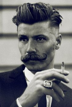 Rebellious rockabilly hairstyles for men - Herrenfrisuren - Cheveux Handlebar Mustache, Beard No Mustache, Mustache Growth, Movember Mustache, Mustache Grooming, Mustache Party, Male Grooming, Hair And Beard Styles, Vintage Hair