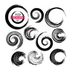 Grunge circle brush strokes set. Hand made artistic collection, for logo…