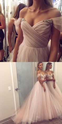 Pink Long Prom Dress, Off Shoulder Tulle Prom Dress with Beading 0227 by RosyProm, $175.99 USD