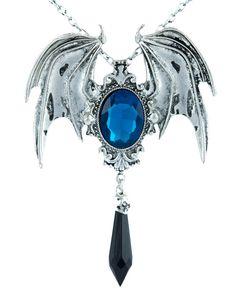 Vampire Bat Wings w/ Blue Stone & Black Teardrop Pendant Necklace Brooch In One