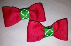 Pink and Green Quatrefoil Hairbows 2 by TheGreenDaisyAHA on Etsy