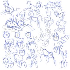 Sketches: Pony Poses by *Rannie-kins on deviantART