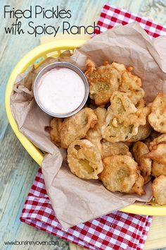 Fried Pickles with Spicy Ranch #recipe from bunsinmyoven.com