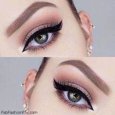 Perfectly shaped brows, winged eyeliner and bronze eye shadow for makeup inspiration. #makeup #brows #eyeliner