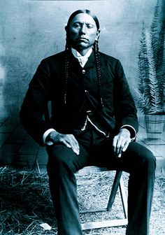 "Chief Quanah Parker in ""white man's"" garb. His mother was a white woman who refused to go back to the ""white world""."