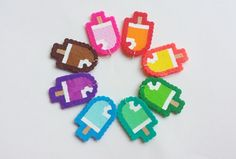 Popsicle Perler Charms, make your own, DIY, do it yourself, you choose colors, pendants, kawaii, kandi, perler beads on Etsy, $2.00