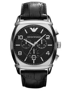 b73438a2 Emporio Armani AR0347 Mens Black Dial Leather-based Strap Watch UK on sale  144GBP arma