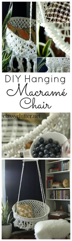DIY Hanging Macrame Chair... This looks pretty difficult and expensive to do but maybe some day. Might be worth just buying a chair.