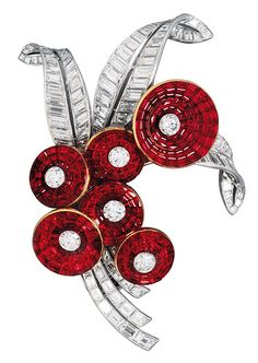 Van Cleef Arpels Bouquet with Mystery Set Rubies Clip