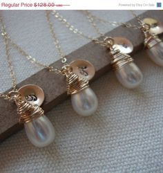 pretty monogramed pearl necklaces!