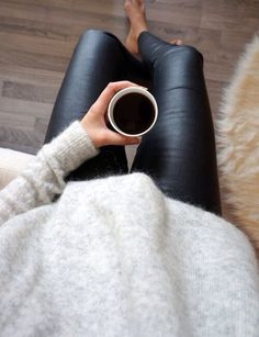 leggings (leather) + sweater