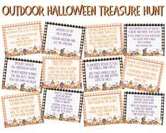 Outdoor Halloween Treasure Hunt Clues Halloween Scavenger | Etsy Halloween Gift, Halloween Party Games, Kids Party Games, Outdoor Halloween, Halloween Ideas, Halloween 2020, Halloween Printable, Halloween Stuff, Halloween Tombstones