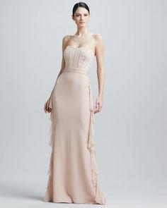 Badgley Mischka - Strapless Corset Bodice Ruffled Panel Gown