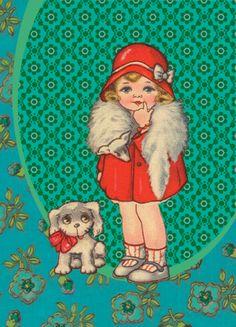 Ansichtkaart Meisje met rode jas