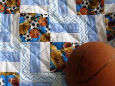 Play Ball - a personalized handmade baby quilt designed by The Baby Quilt Lady. For sale at Unique Baby Quilt Boutique. http://uniquebabyquiltboutique.com/