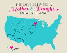 Mom Gift, Long Distance - Custom Map, Gift for Mother, Mom Quote, Mothers Day Gift, Popular Gifts for Mom, Grandma, Grandmother