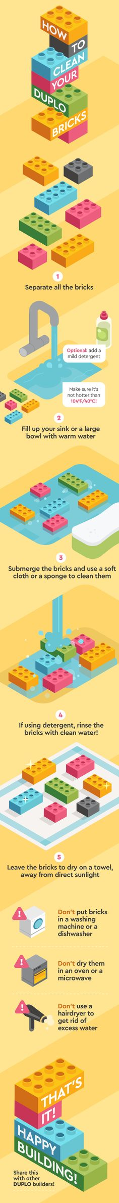 The official LEGO guidelines on how to clean your LEGO DUPLO bricks to ensure you don't damage them in the process! Lego Therapy, Lego Display, Toddler Humor, Home Organisation, Lego Instructions, Learning Through Play, Lego Building, Lego Duplo, Lego Brick