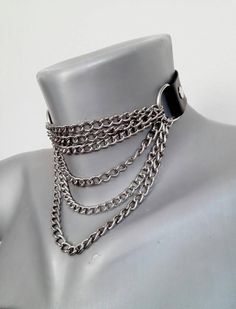 Gothic punk rock biker chain choker accessories gothic Your place to buy and sell all things handmade Punk Jewelry, Jewelry Accessories, Neck Accessories, Gothic Jewelry, Leather Accessories, Leather Jewelry, Emo Fashion, Gothic Fashion, Steampunk Fashion