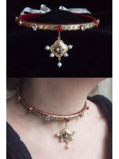 Slim golden collar inspired by jewellery seen in 16th century German paintings (e.g. Lucas Cranach).