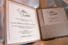 SIGNATURE GLAM - A glamorous and deco theme inspired invitation featuring neutral, latte and metallic silver colours. www.agiftfromchloe.com #art-deco_invitations #metallic_wedding #neutral_invitations #glam_wedding #vintage_wedding #deco_wedding