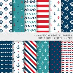 Nautical Digital Paper Navy Blue Red Anchors by AzmariDigitals