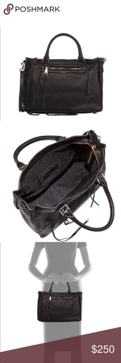 """Rebecca Minkoff Regan Satchel Bag, Black Rebecca Minkoff Regan Satchel Bag, Black      Rebecca Minkoff """"Regan"""" calfskin leather satchel. Layered seaming on structured body Rolled top handles; 5"""" drop. Removable crossbody strap; 22' drop. Zip trim along sides. Center zip compartment; snap strap closure. Inside: animal-print logo lining; one zip pocket, one card slot, two open pockets. ***Excellent Condition Rebecca Minkoff Bags Satchels"""