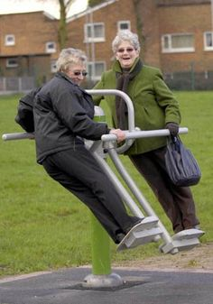Playground fun - you're never too old. Old Folks, Never Too Old, The Golden Years, Old Age, Young At Heart, Aging Gracefully, Getting Old, Old Women, Alter