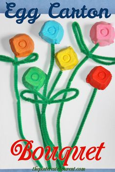 Egg Carton Flower Bouquet - Easy Crafts for All Mothers Day Crafts For Kids, Spring Crafts For Kids, Craft Projects For Kids, Crafts For Kids To Make, Arts And Crafts Projects, Kids Crafts, Art For Kids, Egg Carton Crafts, Craft Activities