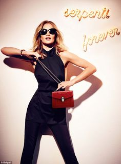 Rosie Huntington-Whiteley poses with striking new pieces from the SERPENTI and BVLGARI BVLGARI collections, while wearing sophisticated sunglasses | Bulgari Fall Winter 2016 Accessories Collection