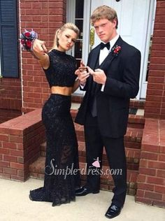 Prom dress,2016 Prom dress,Two-pieces Prom dress,Lace Prom dress,High-neck prom dress,New Style Sexy Two-pieces High Neck Long Black Prom Dress With Lace