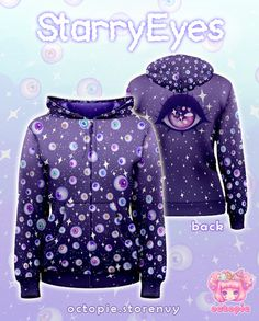 ☆ NOTE: To guarantee Christmas delivery (to US residents), order by November 14th!   ☆ Sparkly floating eyeballs help to create this creepy cute look perfect for a pastel goth or fairy kei coordinate!  ☆ Three colorways are available: Blue, Pink, and Dark Violet  ☆ Hoodie Sizes: XS, S,  M,  L,