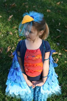 Blue bird costume.  mostly fabric scraps and repurposed clothes.