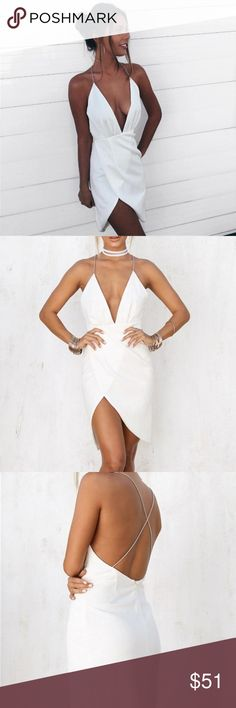 white plunge V neckline slit splice body con dress •size: M  •features: zipper in the back. note: since this is white, nude undergarments are recommended   •no trades  ⚠️ if this item does not fit you CANNOT return it - poshmark policy B-Long Boutique  Dresses Midi